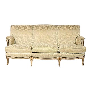 1930 Antique Louis XV Style Painted & Gilt Sofa For Sale