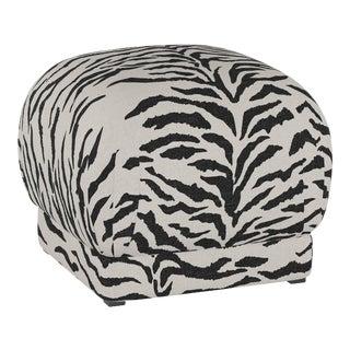 Ottoman, Linen Zebra Cream Black For Sale