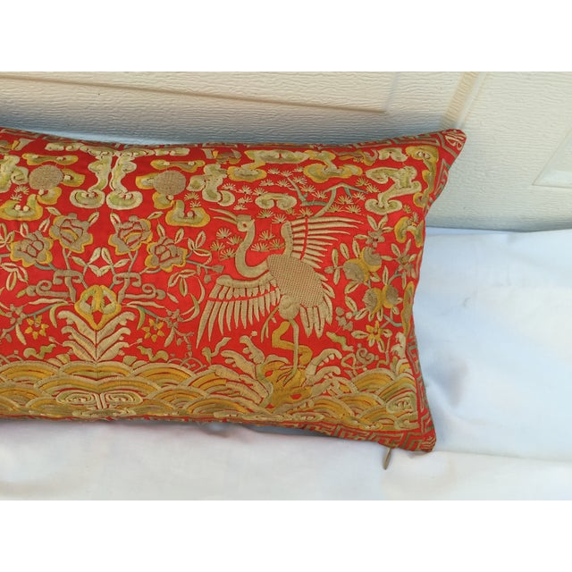 Chinoiserie Silk Crane Boudoir Pillow For Sale - Image 5 of 7