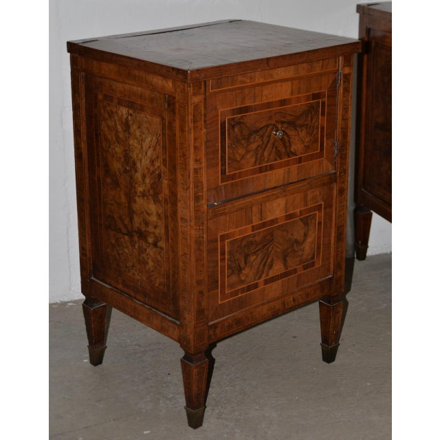 French Country Pair of Magnificent Late 18th to Early 19th Century Walnut Side Tables W/ Cabinets For Sale - Image 3 of 9