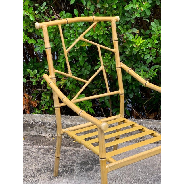 Hollywood Regency Set of Six Hollywood Regency Faux Bamboo Garden Chairs For Sale - Image 3 of 10