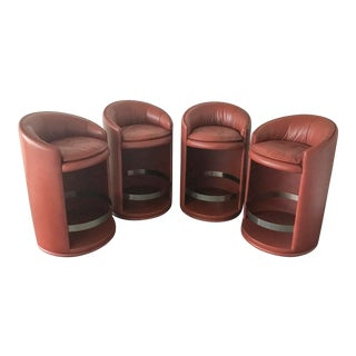 1970s Vintage Rossi DI Albizzate Italian Leather Bogo System Barstool- Set of 4 For Sale