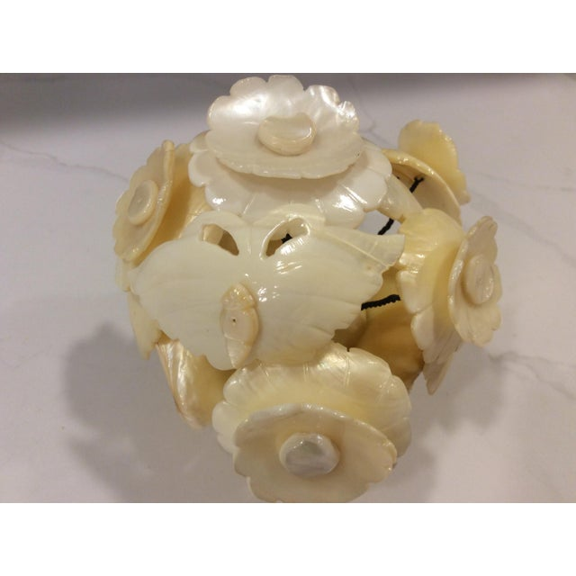 Traditional Victorian Carved Mother of Pearl Basket of Flowers Sculpture For Sale - Image 3 of 6