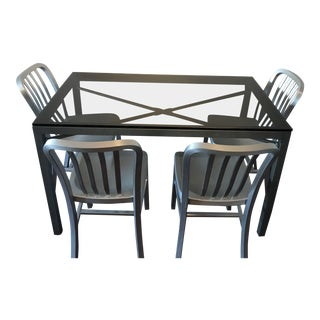 Contemporary Crate & Barrel Parsons Dining Set - 5 Pieces For Sale