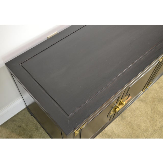 Black Royal Cathay Trading Co. Vintage Black Painted Asian Low Console Cabinet For Sale - Image 8 of 13
