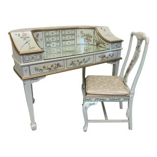 Jasper Cabinet Company Hand Painted Chinoiserie Desk Vanity & Chair For Sale