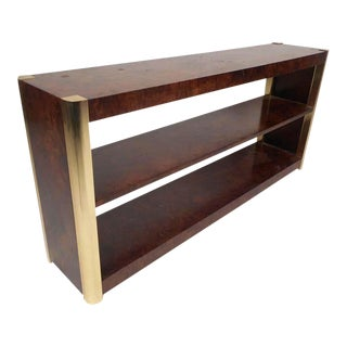 Mid-Century Modern Burl and Brass Console Table For Sale
