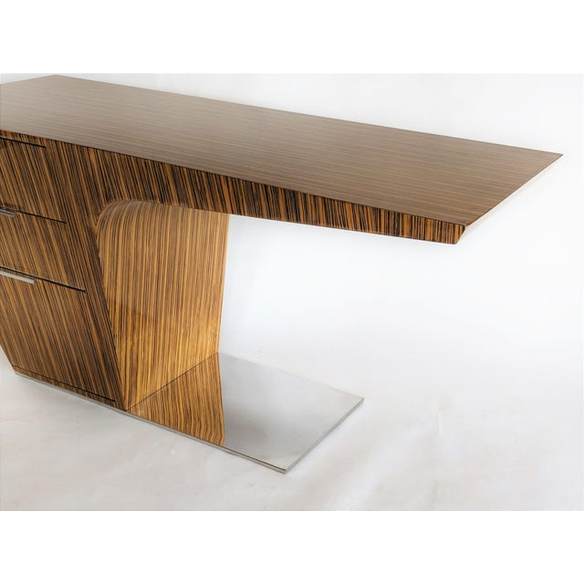 2000s Zebra Wood Modern Cantilever Desk For Sale - Image 5 of 13