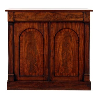 19th-Century William IV Flame Mahogany Cabinet With Geometric Arch-Top Recessed Doors For Sale