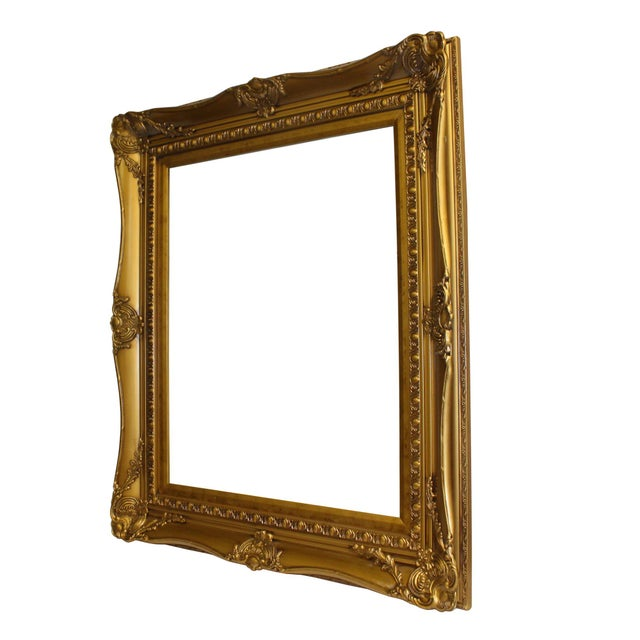 Wood Golden Scroll Motif Rim Rectangular Picture Painting Frame For Sale - Image 4 of 6