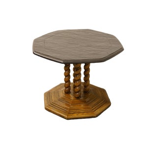 Lane Furniture Mediterranean Rope Twist Slate-Topped Octagonal Accent Table For Sale