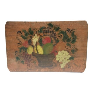 Vintage Hand Painted Bread Board For Sale