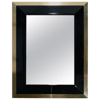 j.c. Mahey Wall Mirror in Black Lacquer and Brass, 1970 For Sale