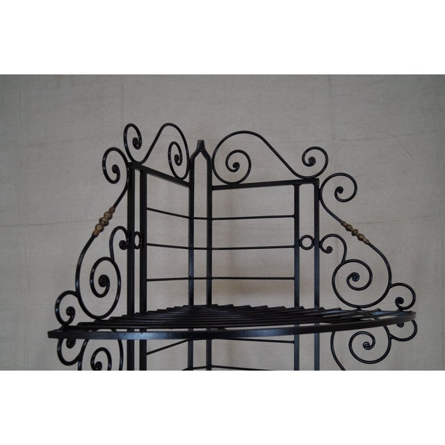 Quality Vintage French Iron Corner Bakers Rack - Image 3 of 10
