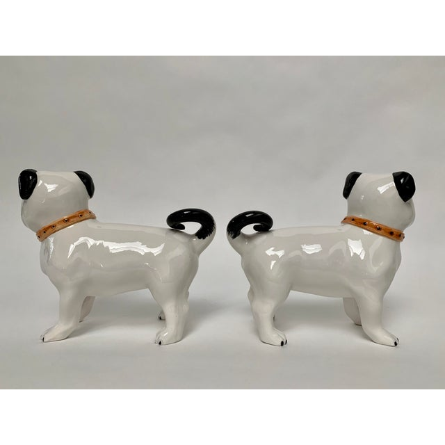 Large Italian Ceramic Pug Puppy Dog Figures - a Pair For Sale - Image 4 of 12