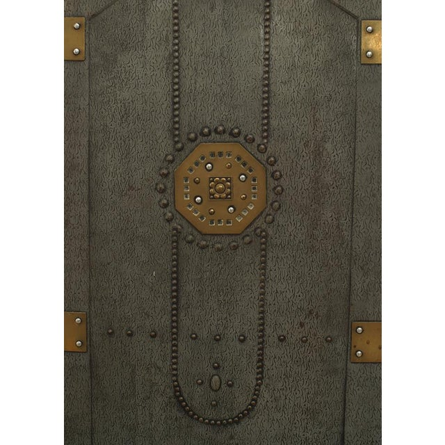 Austrian Secessionist tole painted 3 panel fire screen with nail head design and trimmed with small brass panels