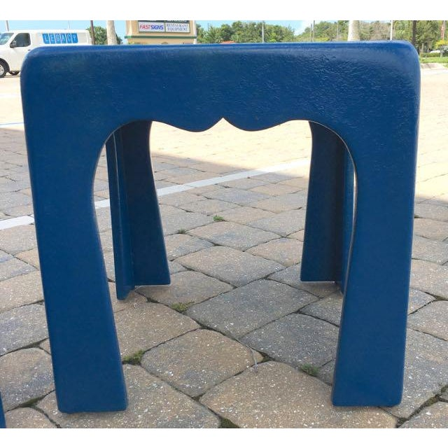 Vintage Blue Fiberglass Occasional Tables - A Pair For Sale - Image 11 of 13