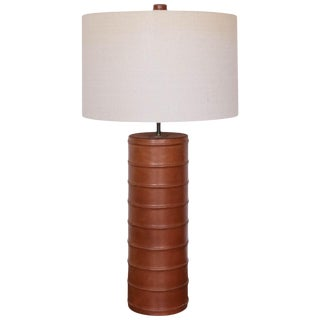 Stitched Leather Table Lamp, 1970s For Sale