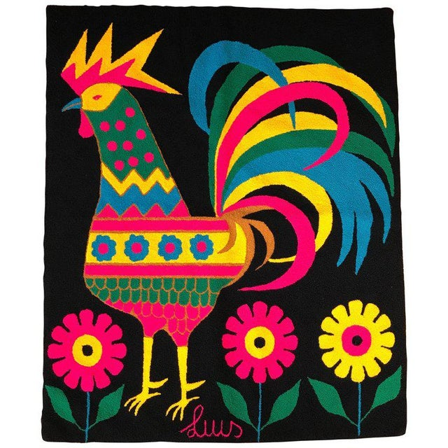 Mid-Century Colorful Rooster Tapestry by Luis Montiel For Sale - Image 11 of 11