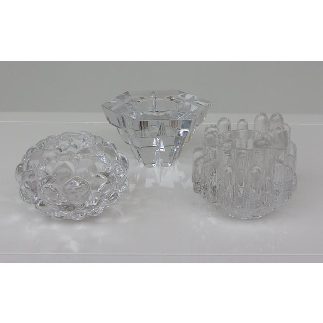 Vintage set of three crystal candle holder, it three beautiful motif.
