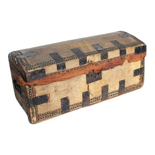 Antique Decorative Leather & Iron Trunk For Sale