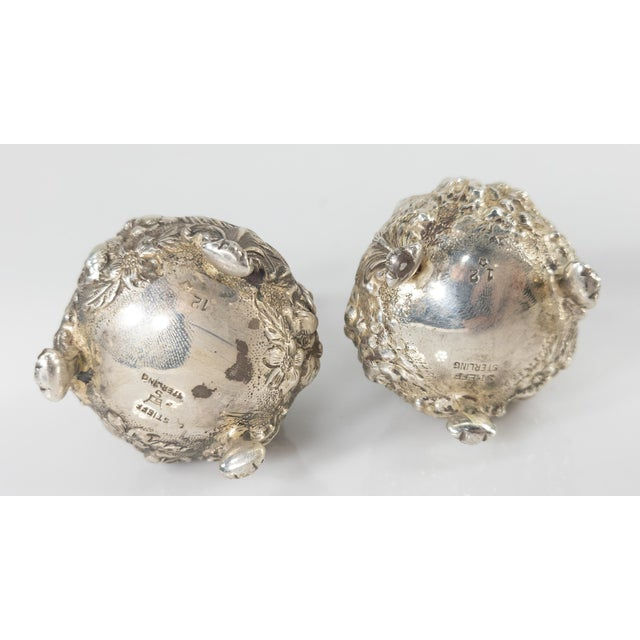 Early 20th Century Floral Sterling Silver Stieff Salt and Pepper Shakers For Sale - Image 4 of 7