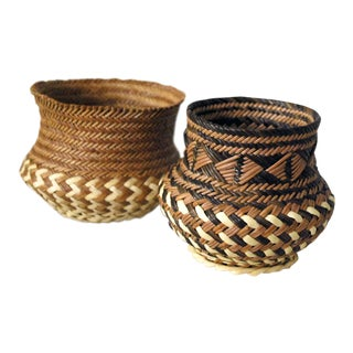 1990s Boho Chic Tarahumara Indian Pine Needle Baskets - a Pair For Sale