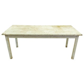 Vintage & Rustic White Wooden Factory Table
