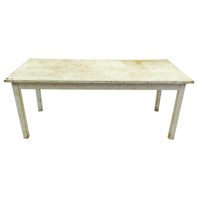 Vintage & Rustic White Wooden Factory Table For Sale