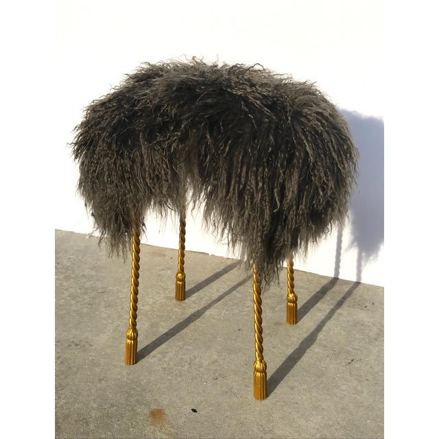 Green Hollywood Regency Mongolian Lamb & Gilded Metal Vanity Stool, 1970's For Sale - Image 8 of 13