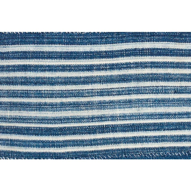 Vintage African indigo woven stripe pillow