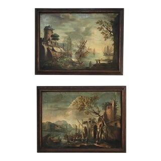 19th Century Italian Landscape Paintings - a Pair For Sale