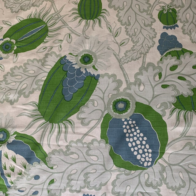 Christopher Farr Carnival Linen Fabric in Green and Blue -2 1/2 Yards