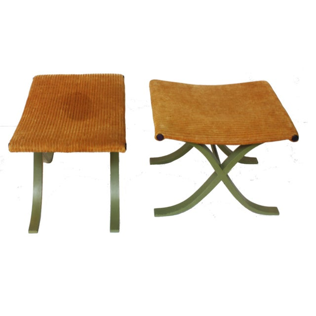 Modern Pair of X-Form Stools by Plycraft, Inc. For Sale - Image 3 of 4
