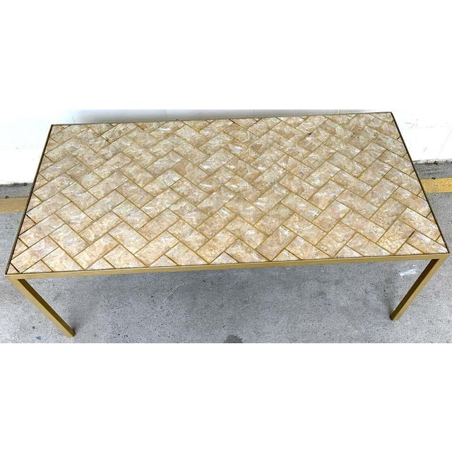 Modern Maitland-Smith Inlaid Capiz Shell Coffee Table For Sale - Image 3 of 9
