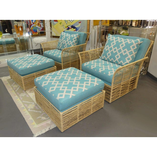 Boho Chic Twisted Raffia Lounge Chairs With Ottomans- a Pair For Sale - Image 11 of 11