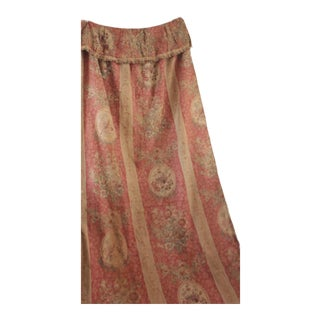 Antique 1890s French Shabby Chic Linen Pink Floral Faded Curtain Drape For Sale
