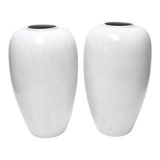 Pair of Large White Vintage Vases For Sale