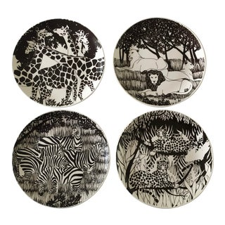 1980s Black and White Ceramic African Animal Plates - Set of 4 For Sale