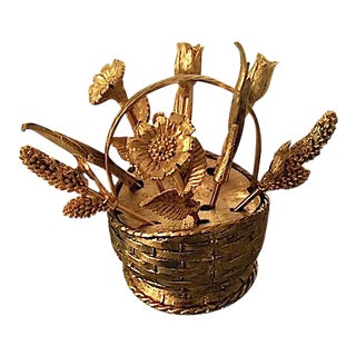 Vintage Gold Tone Basket With Floral Cocktail Forks For Sale