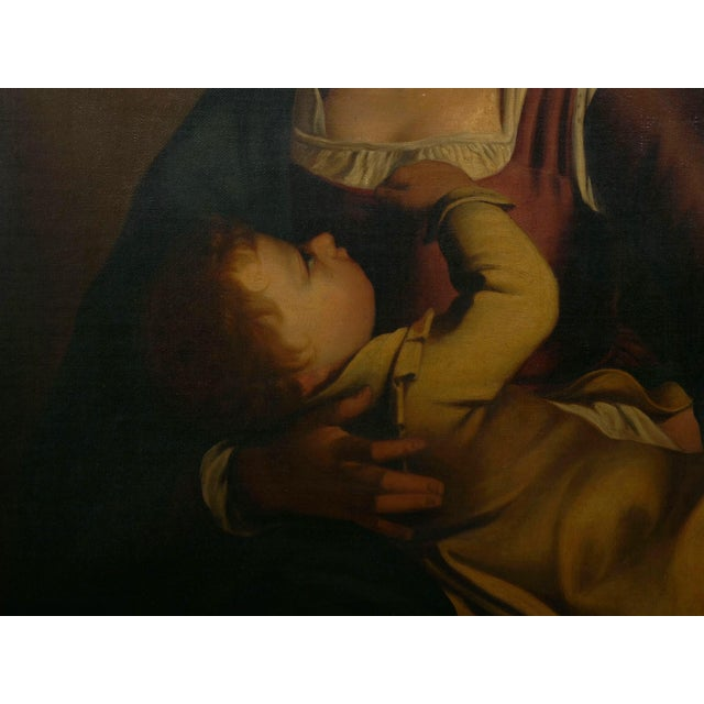"""""""Madonna & Child"""" 19th Century Copyist Oil Painting After Orazio Gentileschi For Sale - Image 11 of 13"""