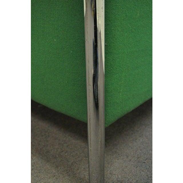 Chrome Mid Century Modern Milo Baughman Style Tubular Chrome Frame Green 3 Seat Sofa For Sale - Image 7 of 10