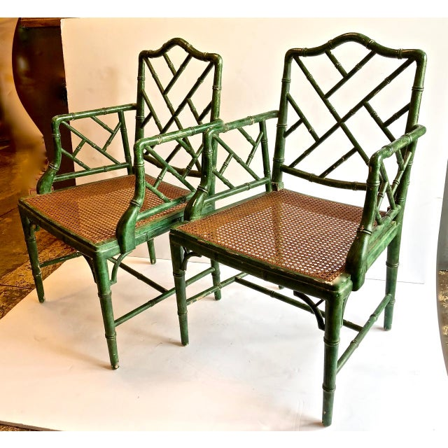 Wood Chinese Chippendale Faux Bamboo Chairs, Set of 6 For Sale - Image 7 of 7