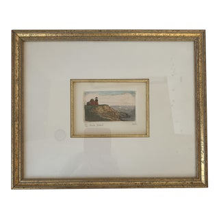 Framed Watercolor New England Lighthouse Print For Sale