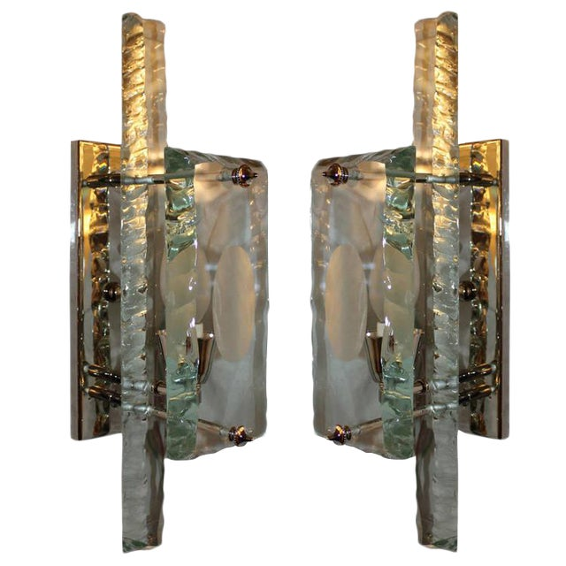Italian 1960s Chiseled Glass Sconces - A Pair For Sale
