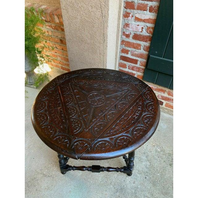 Antique English Carved Oak Envelope Handkerchief Drop Leaf Round Table Corner For Sale - Image 11 of 13