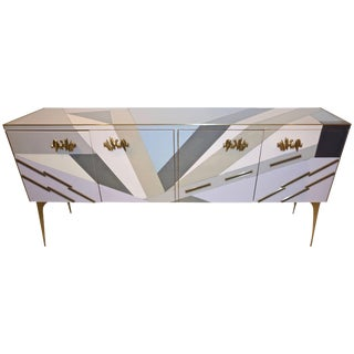 Contemporary Italian Pop Design Purple Blue Gray White Glass Sideboard For Sale