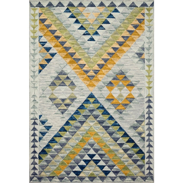 "Justina Blakeney X Loloi Rugs Hallu Rug, Spa / Gold - 1'6""x1'6"" For Sale"