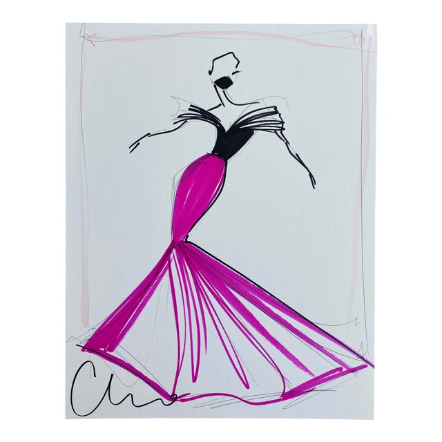 """Black and Fuchsia Evening Gown"" Original Christian Siriano Sketch For Sale"