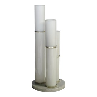 Post Modern White Glass Skyscraper Lamp Gumps For Sale